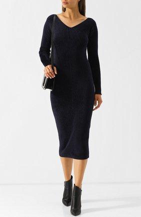 Вязаное платье-миди с V-образным вырезом MRZ темно-синее | Фото №1