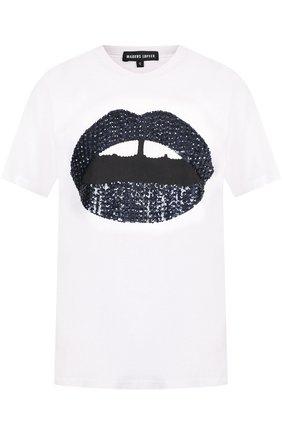 Хлопковая футболка с круглым вырезом и принтом Markus Lupfer белая | Фото №1