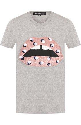 Хлопковая футболка с круглым вырезом и пайетками Markus Lupfer серая | Фото №1