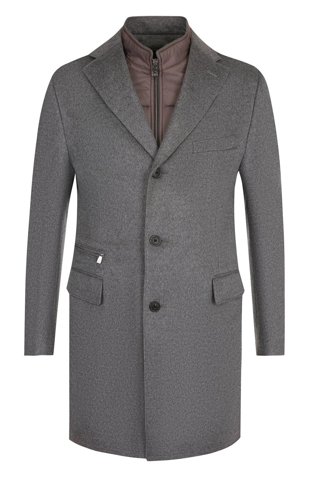 Однобортное шерстяное пальто с подстежкой   Фото №1