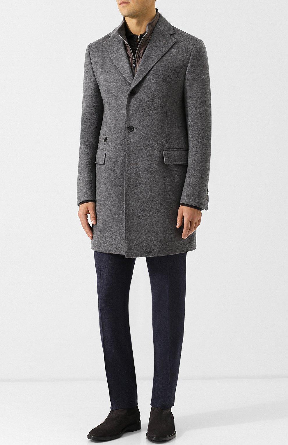 Однобортное шерстяное пальто с подстежкой   Фото №2