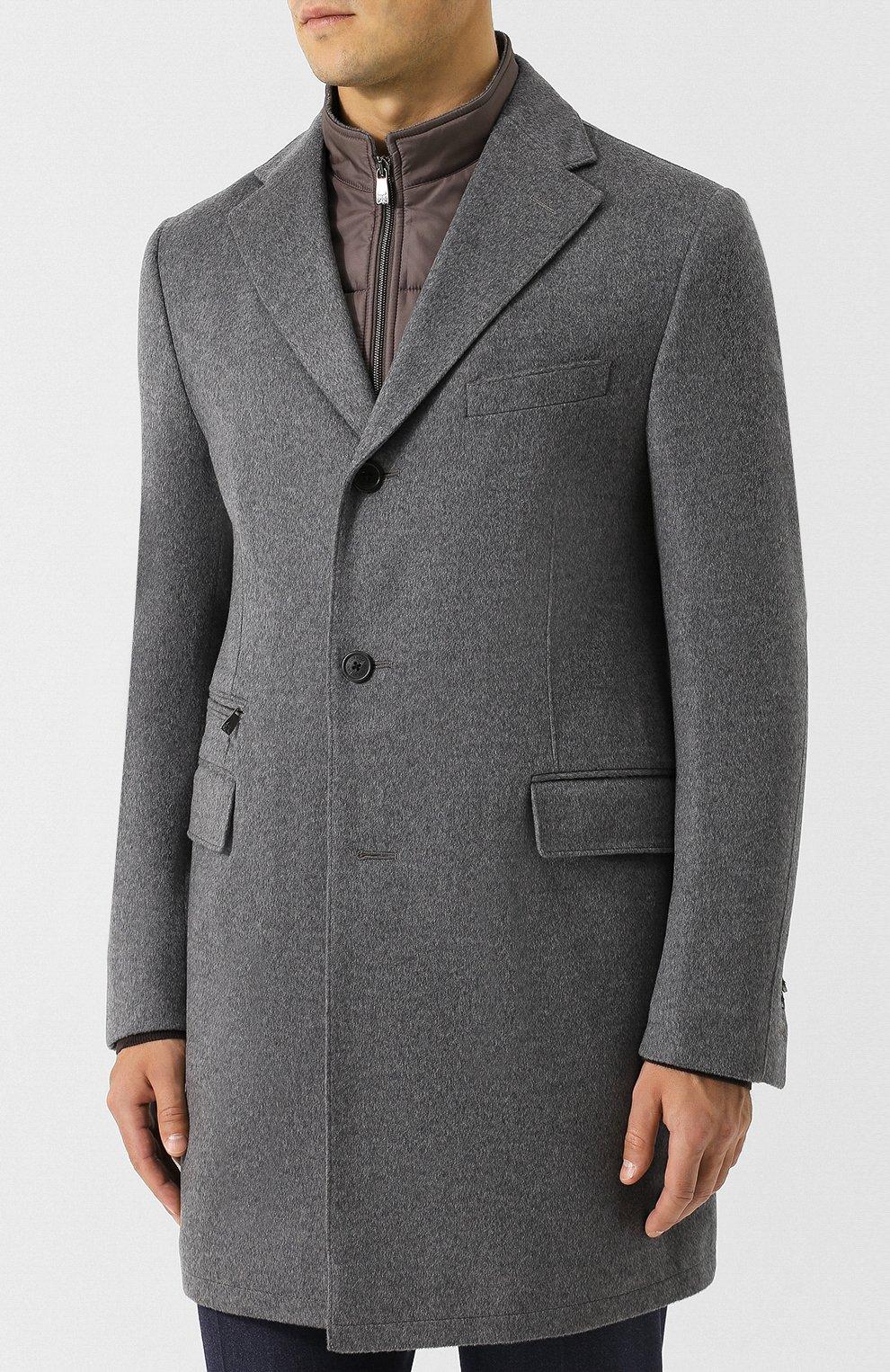 Однобортное шерстяное пальто с подстежкой   Фото №3