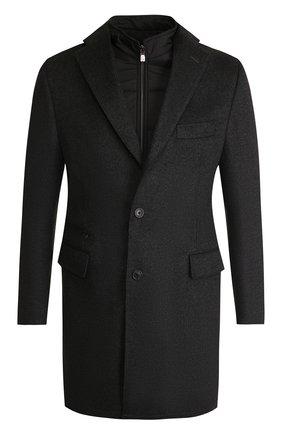 Мужской однобортное шерстяное пальто с подстежкой CORNELIANI темно-серого цвета, арт. 821584-8813179/00 | Фото 1