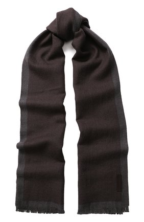 Шерстяной шарф с бахромой   Фото №1
