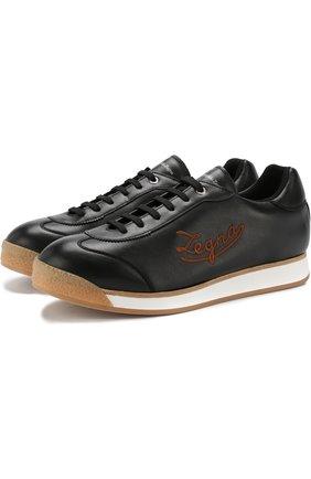 Кожаные кеды на шнуровке Ermenegildo Zegna черные | Фото №1