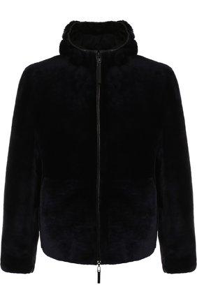 Двусторонняя меховая куртка на молнии с капюшоном | Фото №1