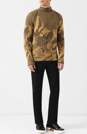 Мужские кожаные кеды с отделкой кожи аллигатора ZEGNA COUTURE черного цвета, арт. A2975X-JCT/AMIS | Фото 2