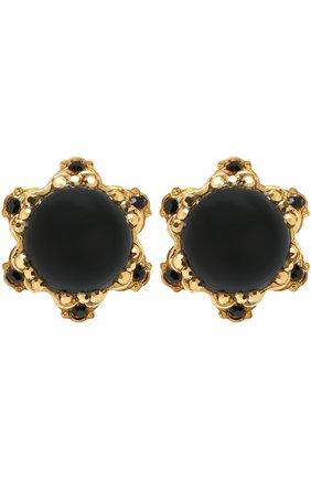 Серьги-клипсы с кристаллами Swarovski Larisa Barrera черные | Фото №1