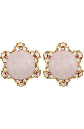 Серьги-клипсы с кристаллами Swarovski Larisa Barrera светло-розовые | Фото №1