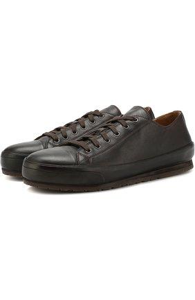 Мужские кожаные кеды на шнуровке BRIONI темно-коричневого цвета, арт. QHG90L/07730 | Фото 1