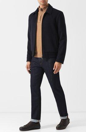Мужские кожаные кеды на шнуровке BRIONI темно-коричневого цвета, арт. QHG90L/07730 | Фото 2