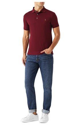 Мужское хлопковое поло POLO RALPH LAUREN бордового цвета, арт. 710652578 | Фото 2