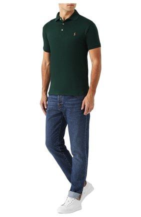 Мужское хлопковое поло POLO RALPH LAUREN зеленого цвета, арт. 710652578 | Фото 2