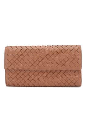 Кожаный кошелек Bottega Veneta розового цвета | Фото №1