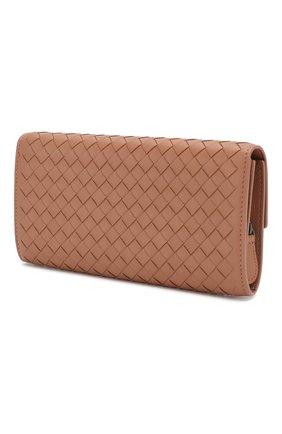Кожаный кошелек Bottega Veneta розового цвета | Фото №2
