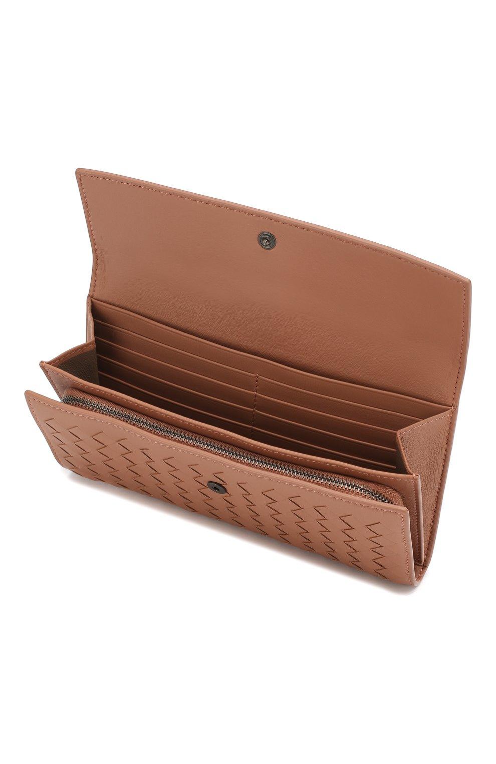 Кожаный кошелек Bottega Veneta розового цвета | Фото №3
