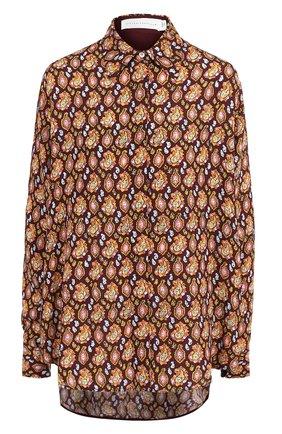 Женская шелковая блуза с принтом Victoria Beckham, цвет разноцветный, арт. SH LNG 1529F PAW18 PAISLEY CREP0N PRINT в ЦУМ | Фото №1