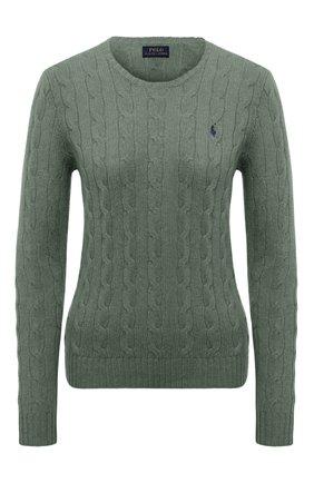 Шерстяной пуловер с круглым вырезом Polo Ralph Lauren зеленый | Фото №1
