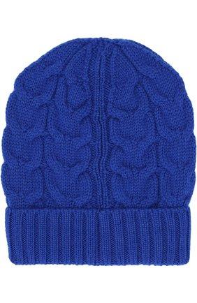 Детского шерстяная шапка фактурной вязки MONCLER ENFANT синего цвета, арт. D2-954-00110-05-04S02   Фото 2