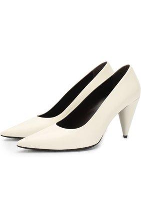 Кожаные туфли на фигурном каблуке The Row белые | Фото №1