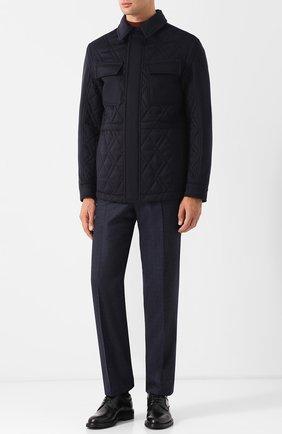 Кашемировая куртка с отложным воротником Ermenegildo Zegna темно-синяя | Фото №1