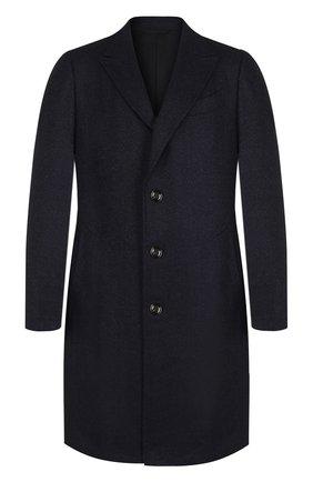 Однобортное пальто из смеси шерсти и кашемира Ermenegildo Zegna темно-синего цвета | Фото №1