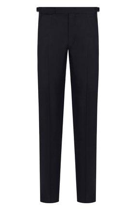 Мужские брюки прямого кроя из смеси шерсти и шелка ERMENEGILDO ZEGNA темно-синего цвета, арт. 412F00/75F812   Фото 1