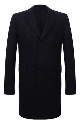Мужской шерстяное пальто HARRIS WHARF LONDON темно-синего цвета, арт. C9100MLK | Фото 1 (Рукава: Длинные; Материал внешний: Шерсть; Мужское Кросс-КТ: пальто-верхняя одежда; Длина (верхняя одежда): До середины бедра)