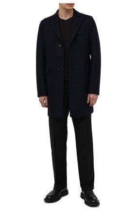 Мужской шерстяное пальто HARRIS WHARF LONDON темно-синего цвета, арт. C9100MLK | Фото 2 (Рукава: Длинные; Материал внешний: Шерсть; Мужское Кросс-КТ: пальто-верхняя одежда; Длина (верхняя одежда): До середины бедра)
