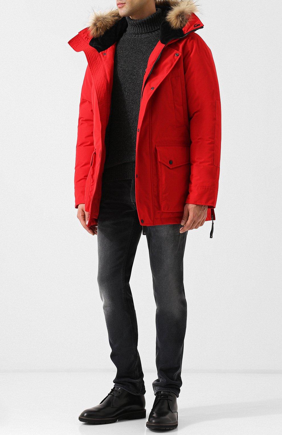 Мужская пуховая парка polus с меховой отделкой капюшона ARCTIC EXPLORER красного цвета, арт. CHILL_RED | Фото 2