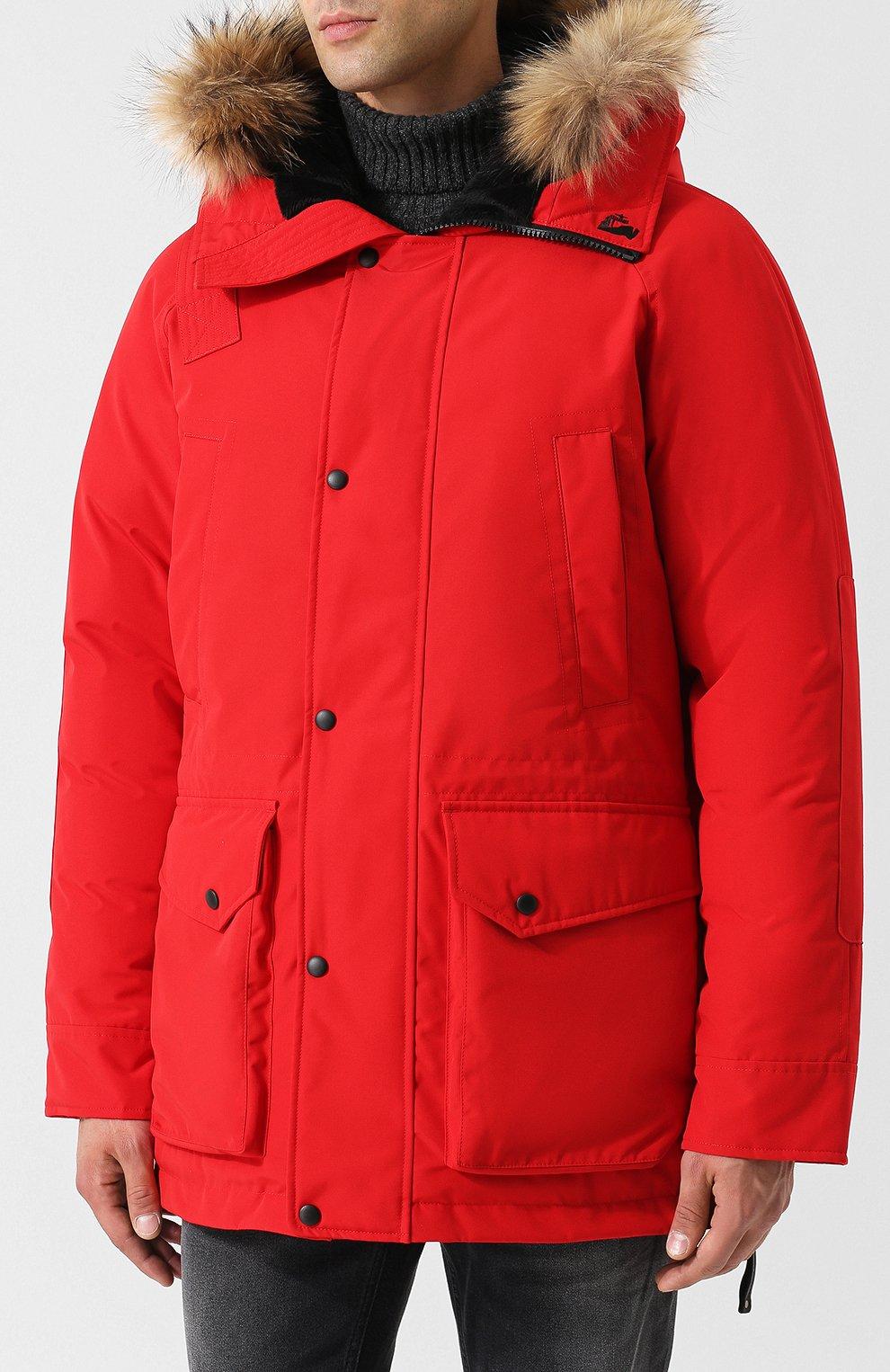 Мужская пуховая парка polus с меховой отделкой капюшона ARCTIC EXPLORER красного цвета, арт. CHILL_RED | Фото 3