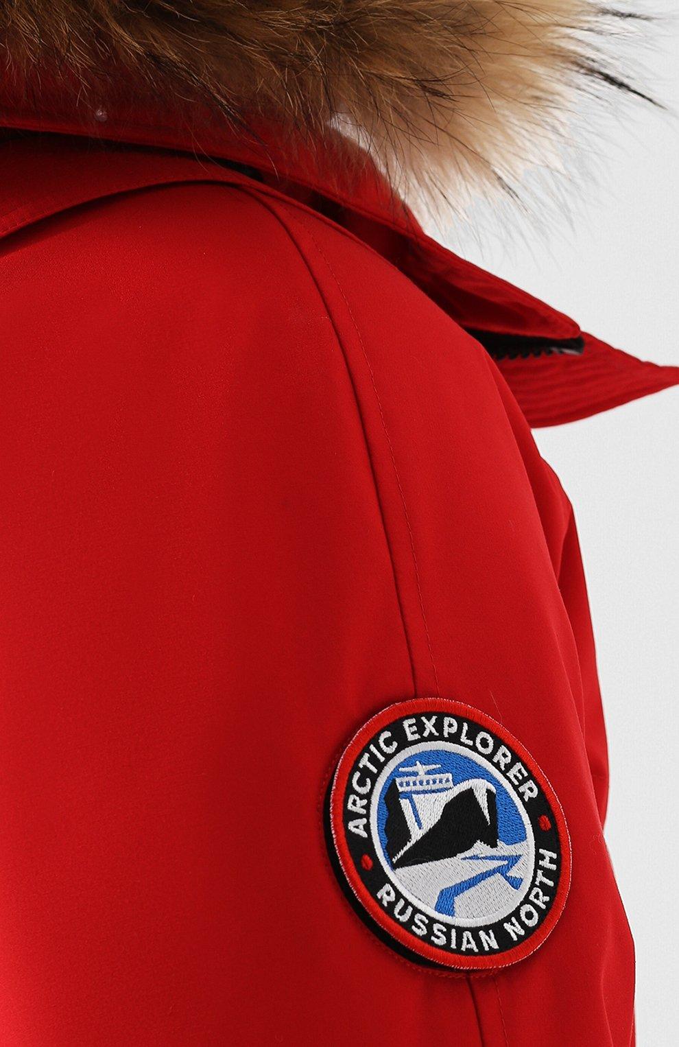 Мужская пуховая парка polus с меховой отделкой капюшона ARCTIC EXPLORER красного цвета, арт. CHILL_RED | Фото 5
