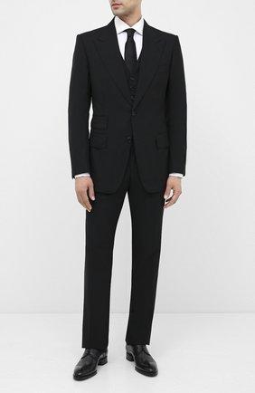 Мужской шерстяной смокинг с остроконечными лацканами TOM FORD черного цвета, арт. 422R12/31AL41 | Фото 1