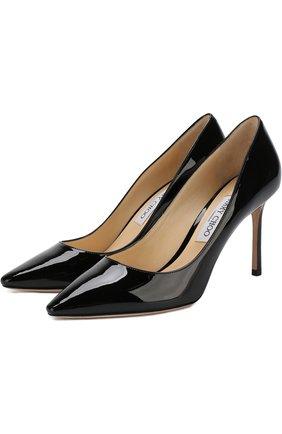 Женская кожаные туфли romy 85  JIMMY CHOO черного цвета, арт. R0MY 85/PAT | Фото 1