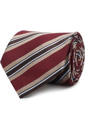 Мужской шелковый галстук в полоску BRIONI бордового цвета, арт. 061E00/07472   Фото 1