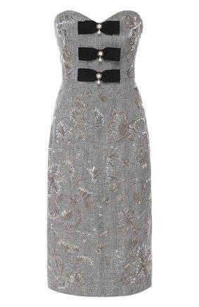 Приталенное льняное платье с декоративной отделкой | Фото №1