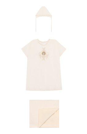 Крестильный набор Шестикрылый Серафим из 3 изделий Chepe бежевого цвета | Фото №1