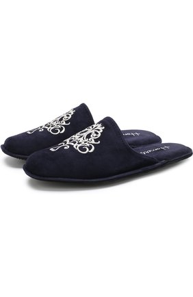 Домашние замшевые туфли с вышивкой Homers At Home темно-синяя | Фото №1