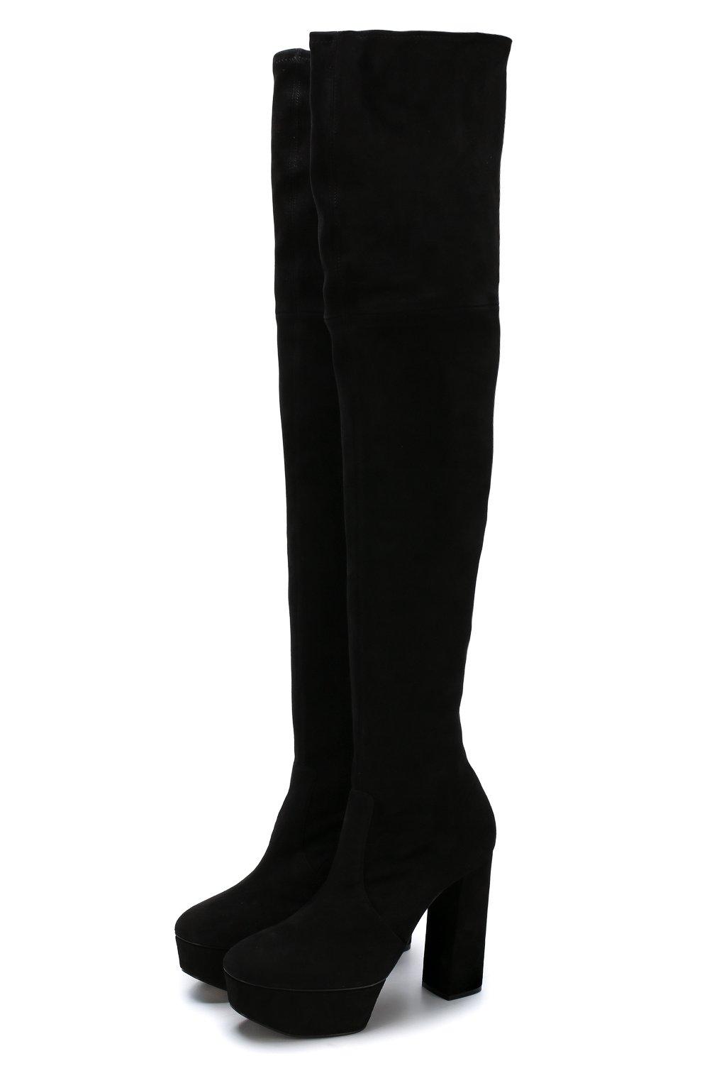 90d38fdf9 Замшевые ботфорты на устойчивом каблуке и платформе Casadei черные | Фото №1
