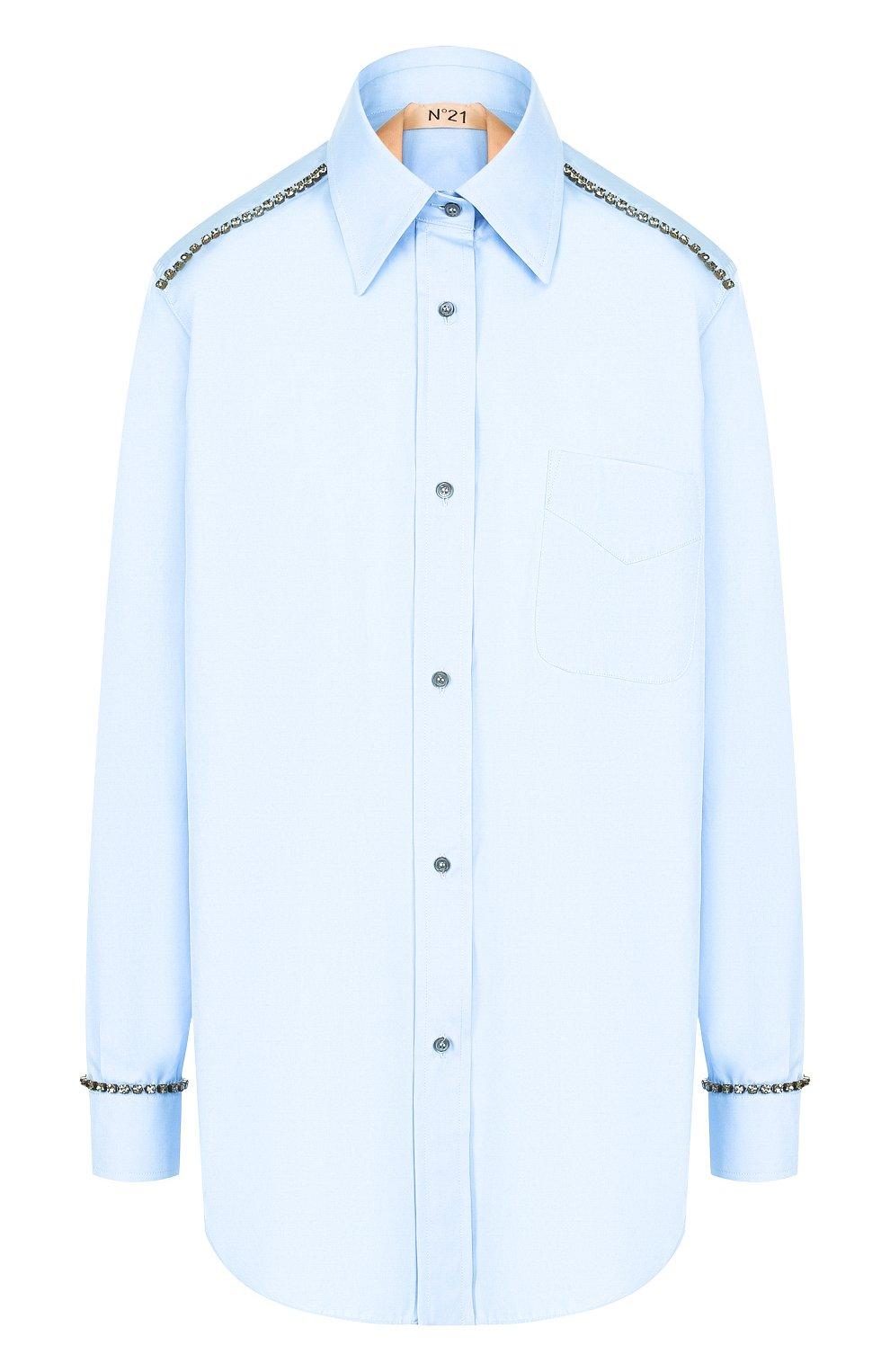 Хлопковая блуза с накладным карманом и декоративной отделкой   Фото №1