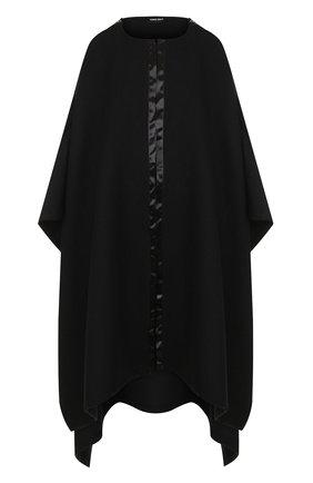 Однотонное пончо из смеси шерсти и шелка Giorgio Armani черная | Фото №1