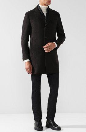 Высокие кожаные кеды на молнии с внутренней меховой отделкой H`D`S`N Baracco черные | Фото №1