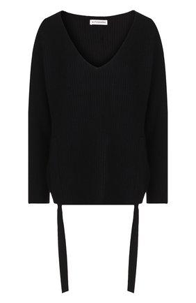 Кашемировый пуловер свободного кроя с оборками Altuzarra черный   Фото №1