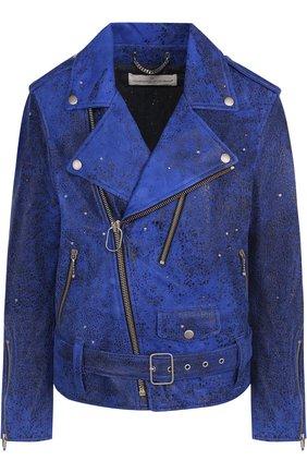Кожаная куртка с декоративной отделкой Golden Goose Deluxe Brand синяя | Фото №1