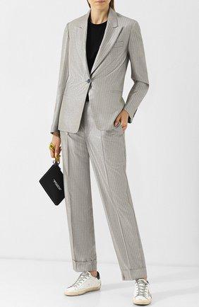 Жакет с металлизированной нитью в полоску Golden Goose Deluxe Brand серебряный | Фото №1