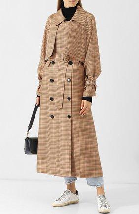 Пальто из вискозы с поясом Golden Goose Deluxe Brand бежевого цвета | Фото №1