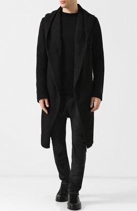 Пальто свободного кроя из смеси шести и льна Masnada черного цвета | Фото №1