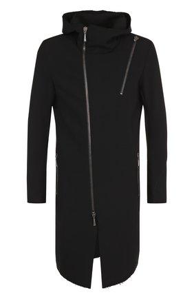 Однотонное пальто с косой молнией Masnada черного цвета | Фото №1