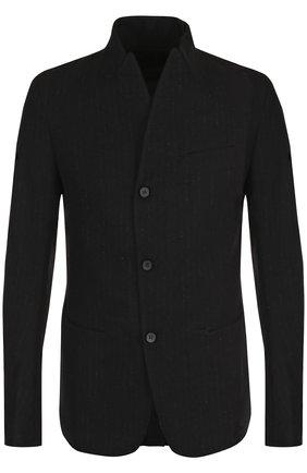 Однотонный пиджак с воротником стойкой Masnada черный | Фото №1
