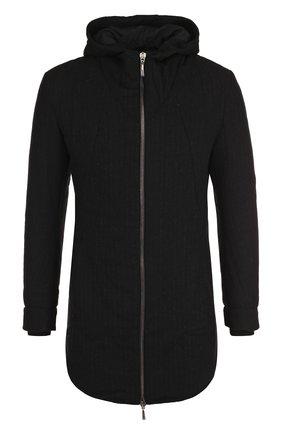 Шерстяная куртка на молнии с капюшоном Masnada черная | Фото №1